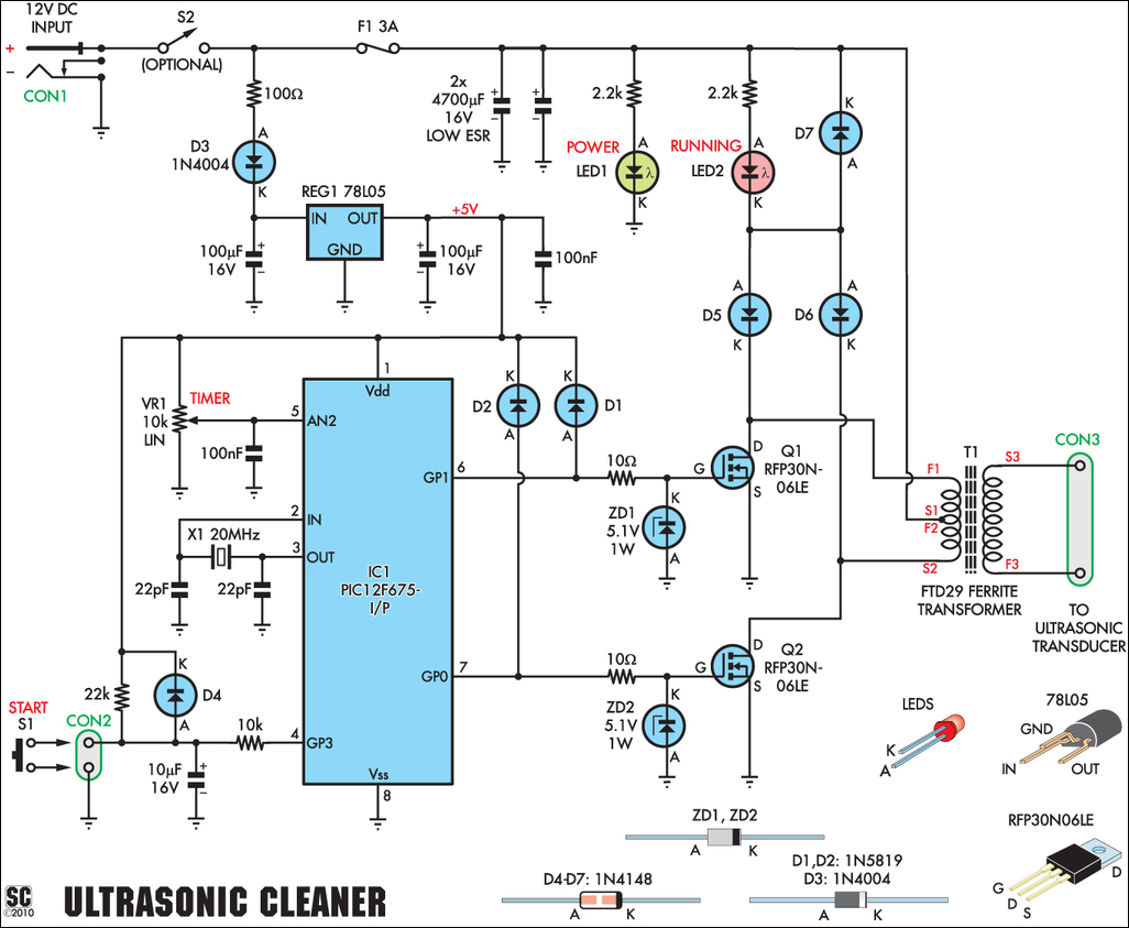 ultrasonic cleaning transducers series parallel - schematic