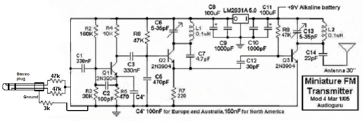 modifying fm transmitter circuit 3 - schematic