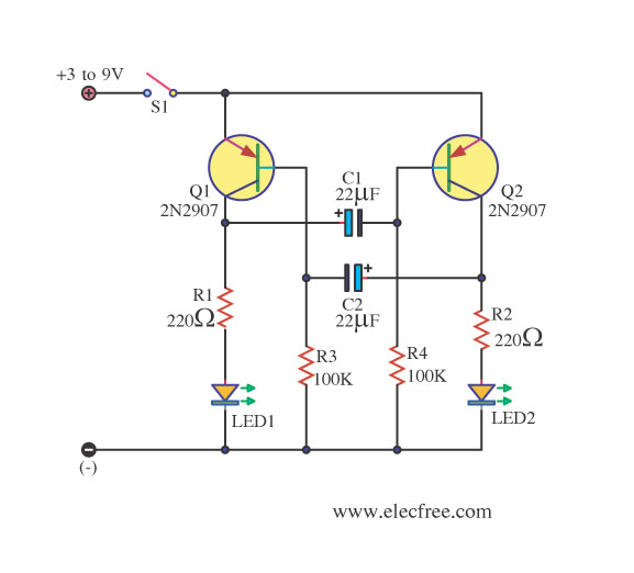 transistor astable multivibrator problem - schematic