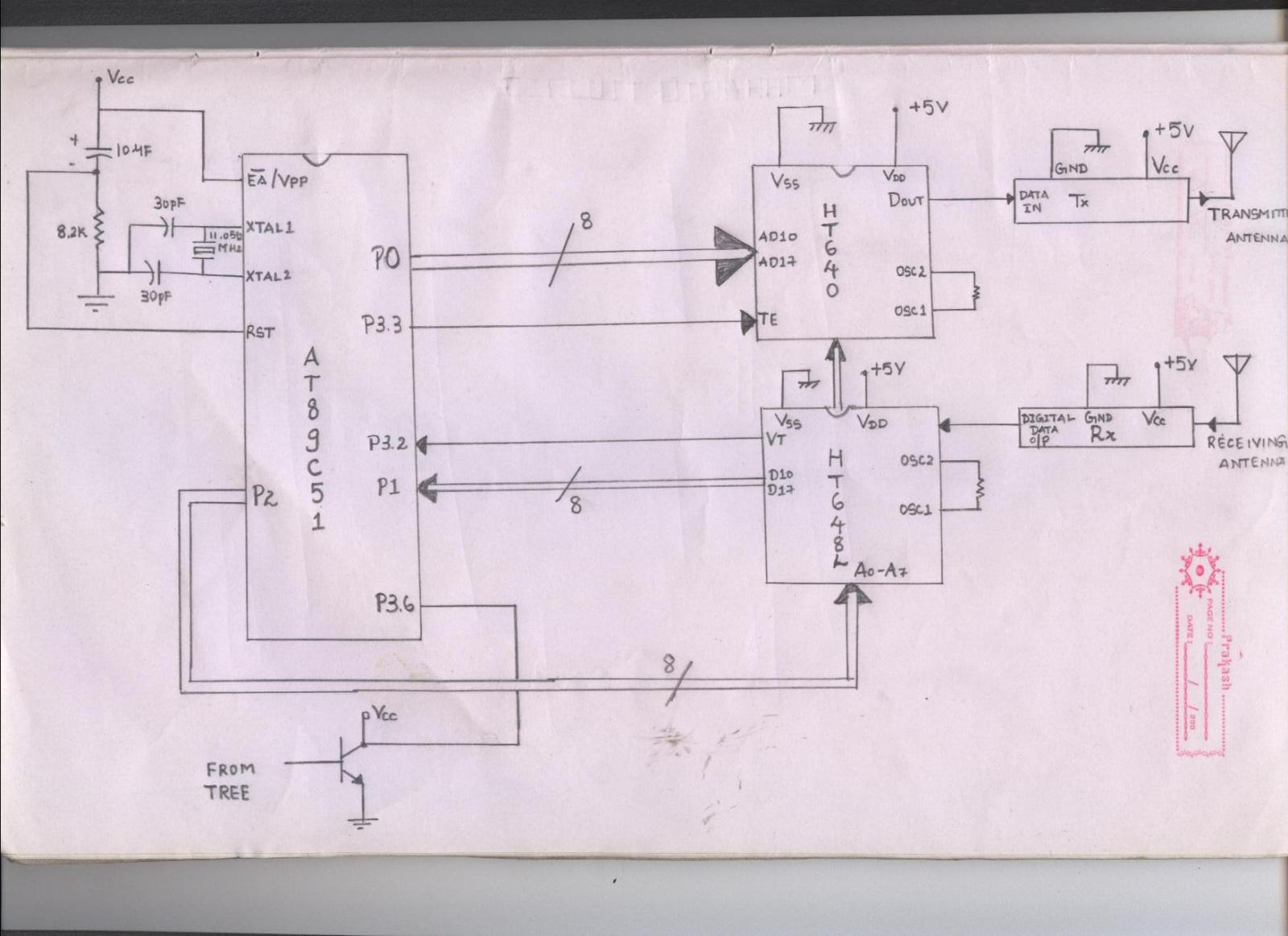 microcontroller 8051 rf tx rx encoder decoder - schematic