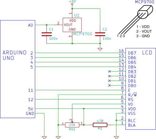 arduino LCD thermometer - schematic