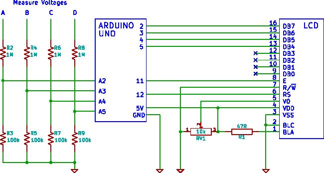 arduino 4 channel LCD voltmeter - schematic