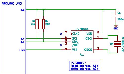 arduino clock - schematic