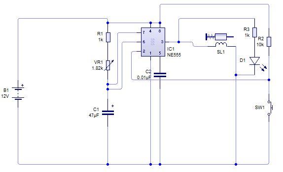 555 monostable circuit trigger solenoid - schematic