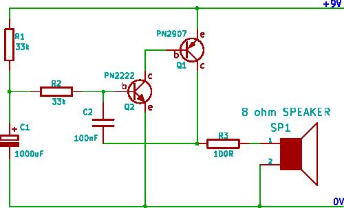 rising pitch siren - schematic