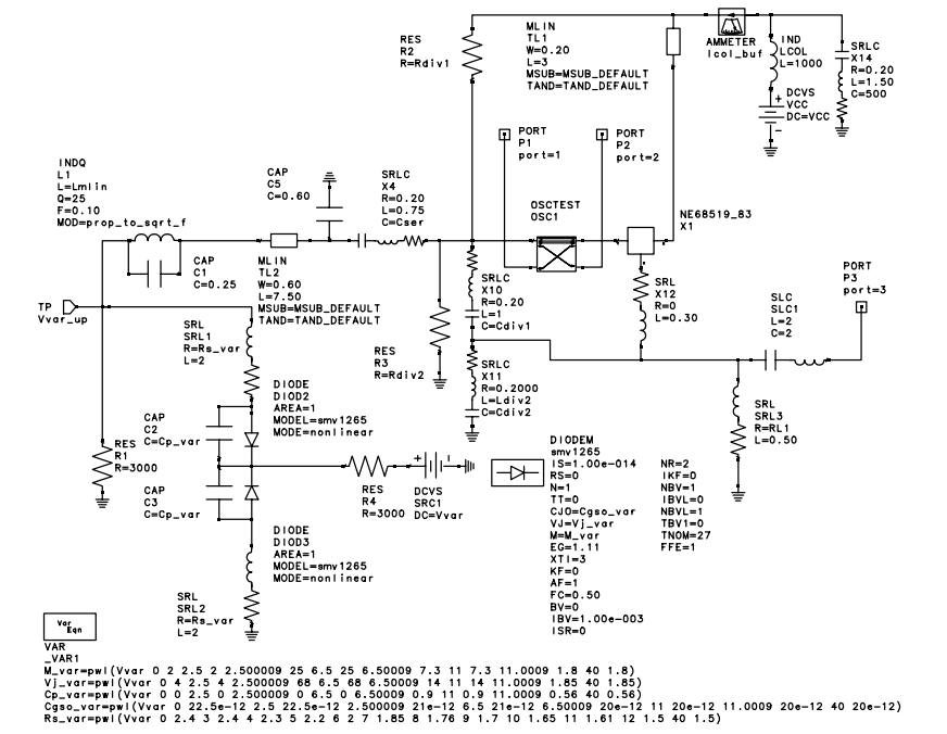 A Colpitts VCO for Wideband (0.952.15 GHz) - schematic
