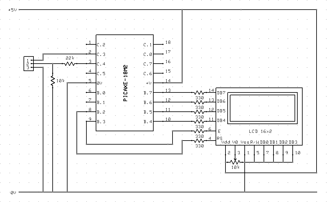 connect a lcd to a picaxe - schematic