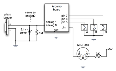 spooky arduino projects 4 and musical arduino - schematic