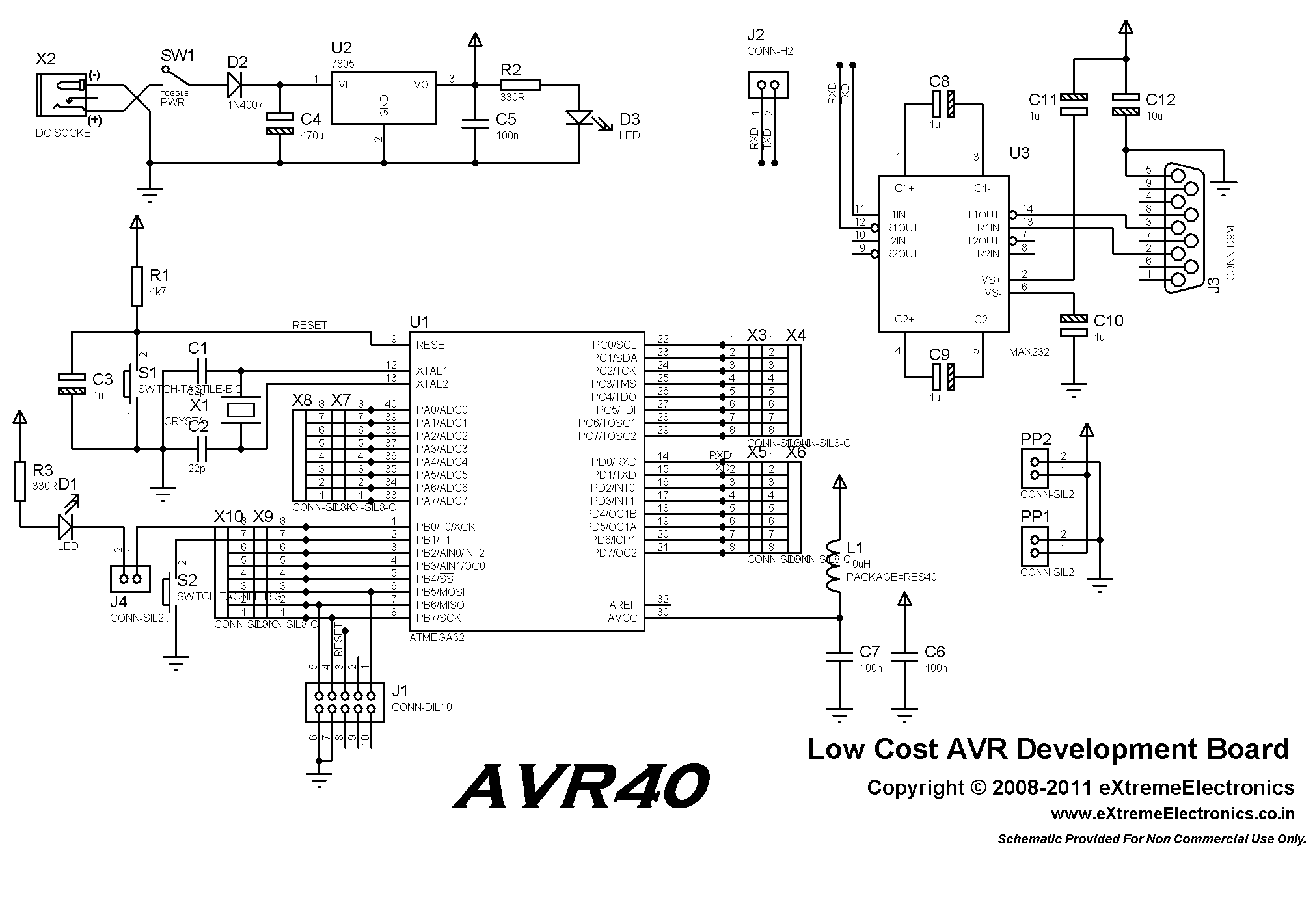 Avr Microcontroller Circuit Page 6 Circuits Lcd Light Laser Led Nextgr 40 Pin Development Board