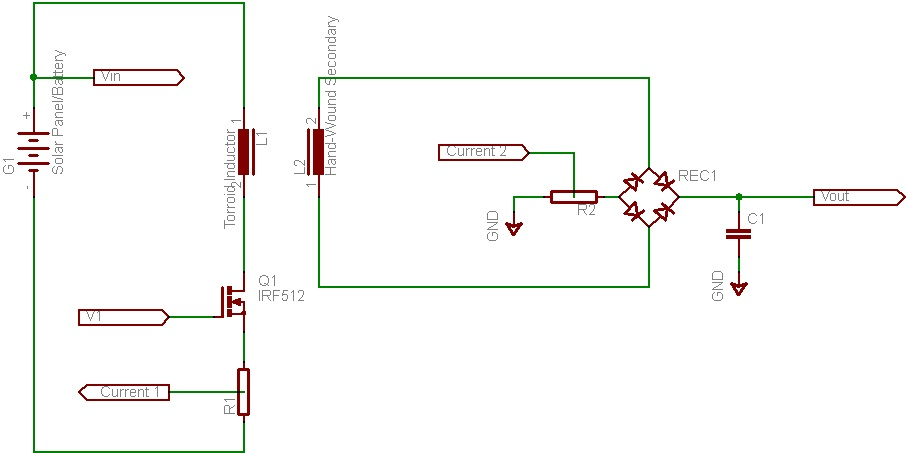 dual voltage converter turning the solar charge controller circuit - schematic
