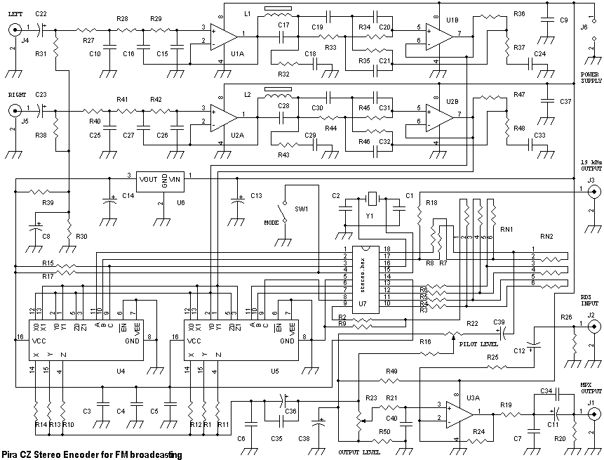 Stereo Encoder for FM transmitters - schematic