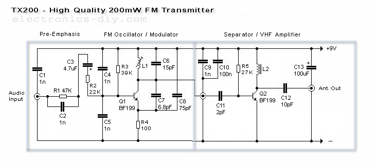200mW High Quality FM Transmitter With TX-200 - schematic