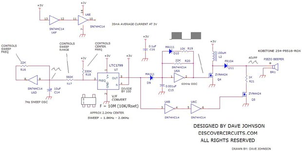 3V Sweeping Siren Alarm - schematic