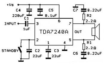 TDA7240A 20W Car Amplifier Circuit - schematic