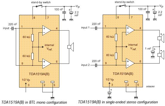 with TDA1519 - schematic.