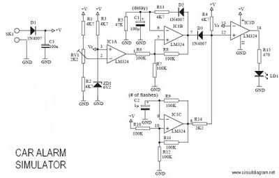 Latest Car Alarm Simulator circuit - schematic