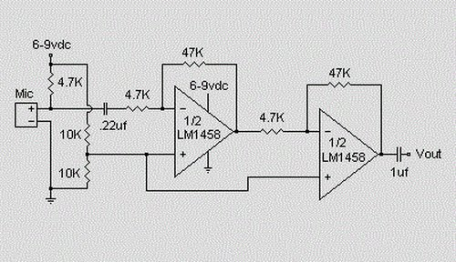 microphone condenser pre amplifier circuit under