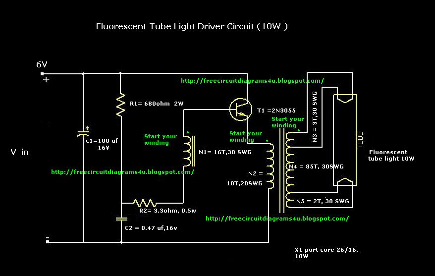 Fluorescent Tube Light circuit diagram 12V 6V 10W 20W design fluorescent circuit page 2 light laser led circuits next gr  at crackthecode.co