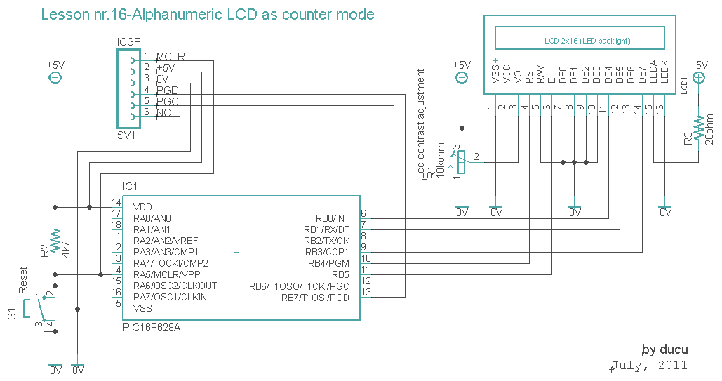 alphanumeric lcd as counter - schematic