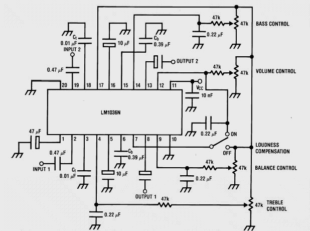 Stereo Tone Control using LM1036 - schematic