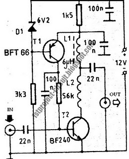VHF Antenna Amplifier Circuit Using BFT66 Transistor - schematic