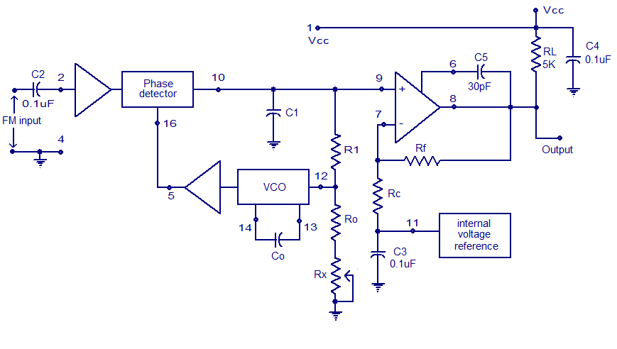 XR2212 PLL FM demodulator Circuit - schematic