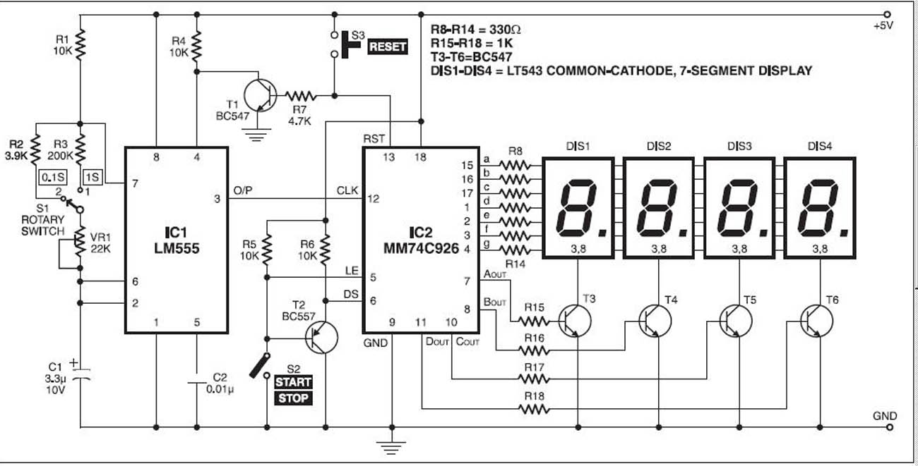 Circuits Digital Stopwatch With 7 Segment Schematic L27278 Circuit Schematics Electronic Telephone Ringer