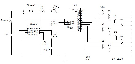 555 timer Electronic roulette wheel circuit and explanation - schematic