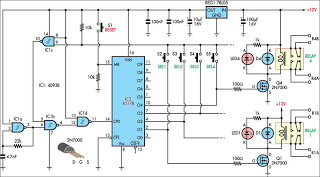 Relay Selector Pushbutton circuit and explanation - schematic