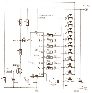 Simple Code Lock - schematic