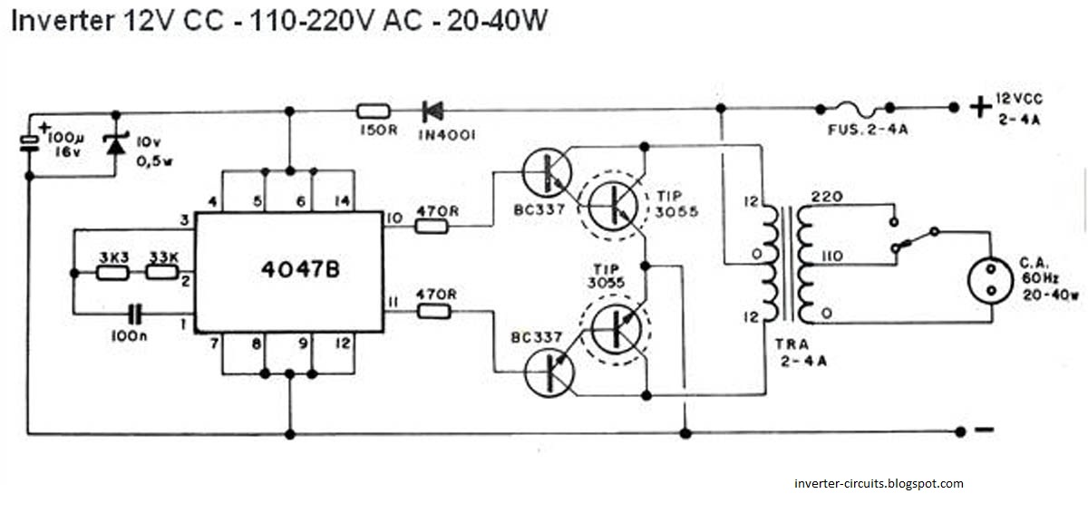 Circuits Diagram: Simple 40W inverter - schematic