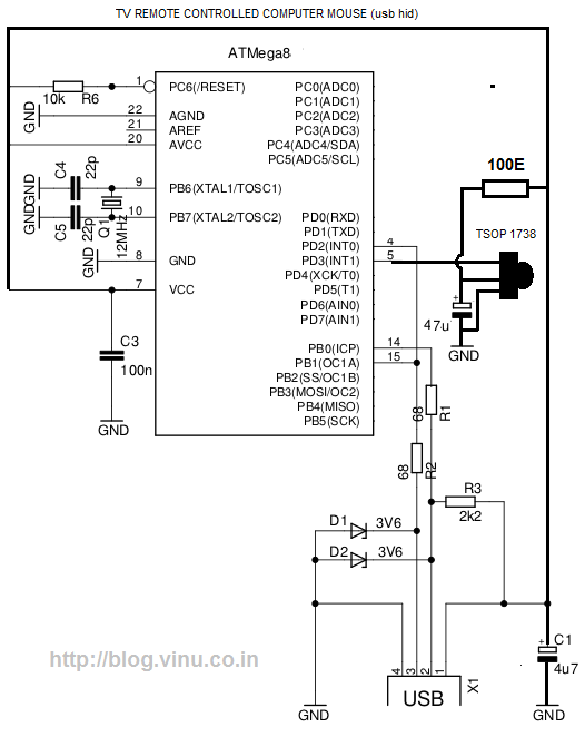 computer wiring diagram for cable and meanings > circuits > tv remote controlled computer mouse an avr ... wiring diagram for computer mouse #8
