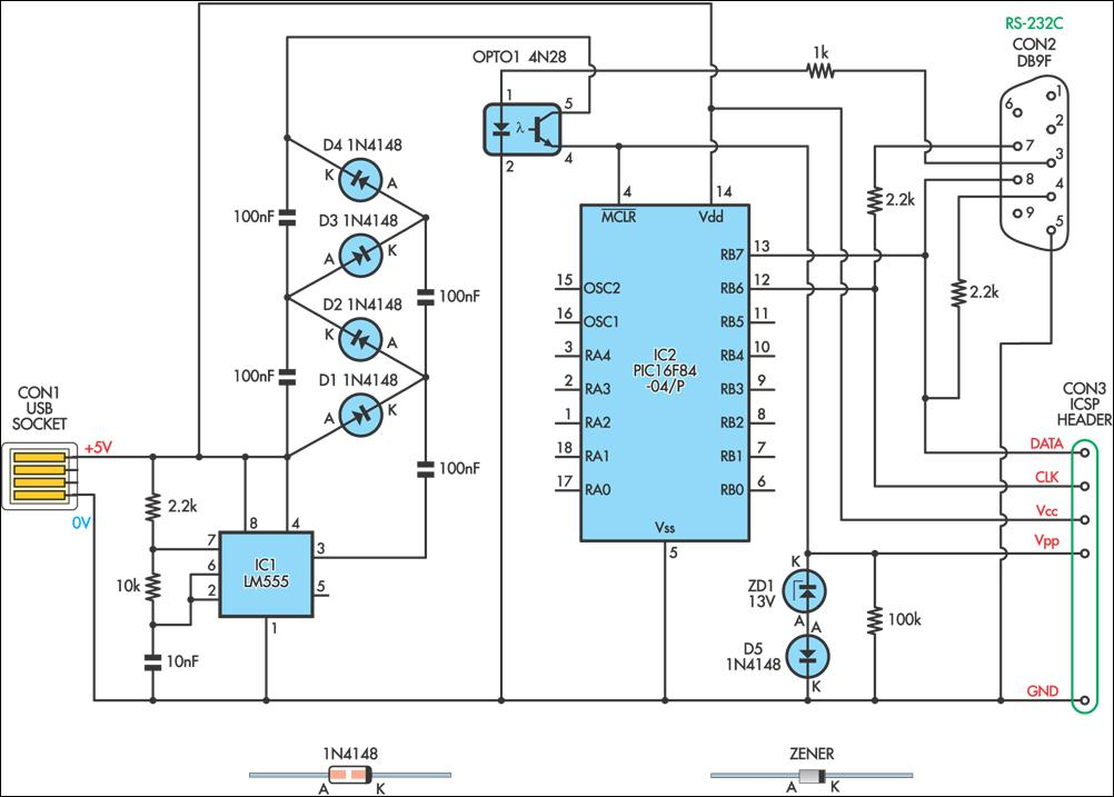 USB-Powered PIC Programmer - schematic