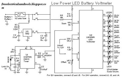low power led battery voltmeter - schematic