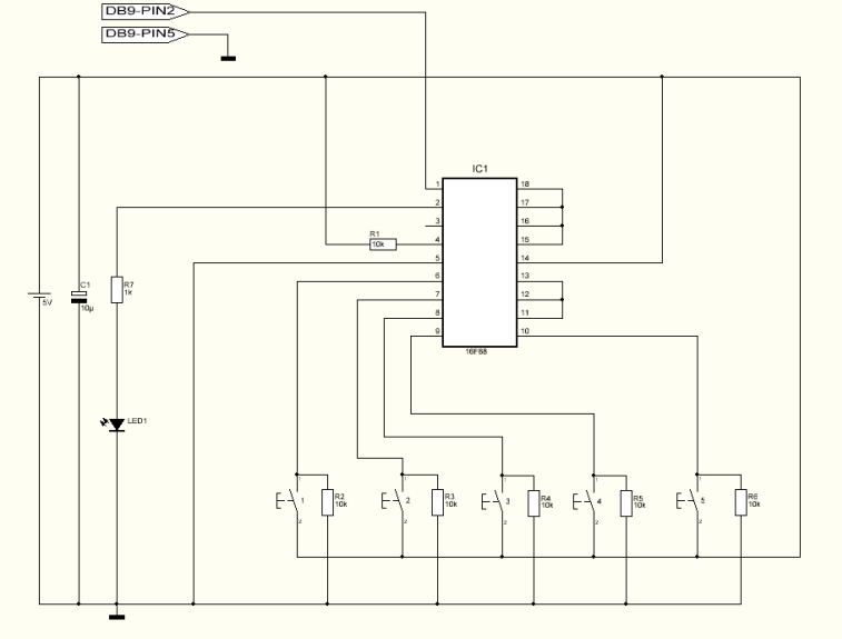 one wire keypad with PIC16F88 - schematic