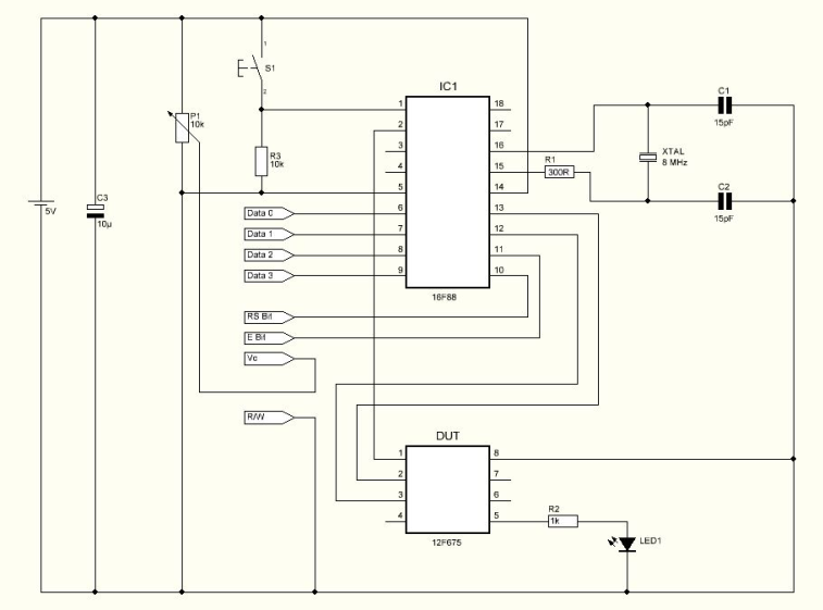 OSCCAL Value Finder Board with 16F88 - schematic