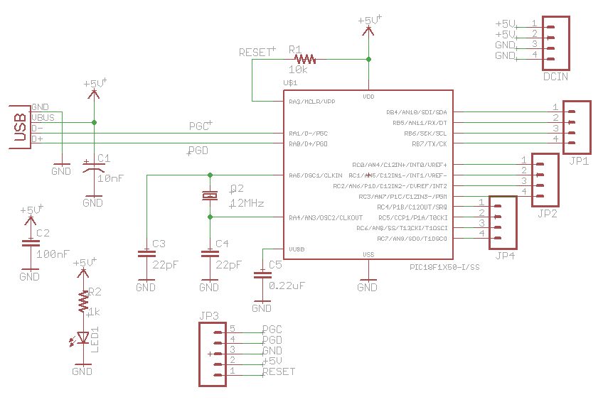 3-Wire Serial LCD using PIC12F683 - schematic