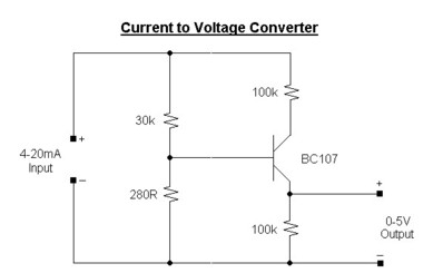 current to voltage converter circuit - schematic
