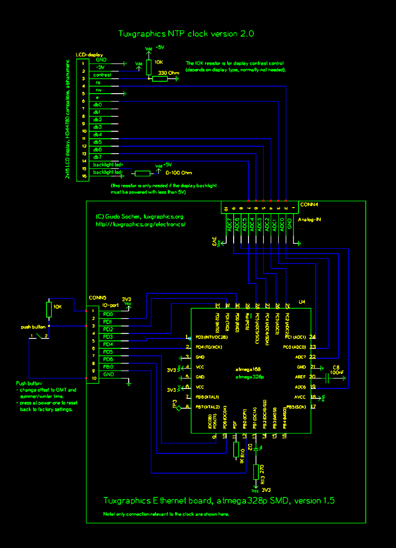 avr ntp clock 2x. - schematic