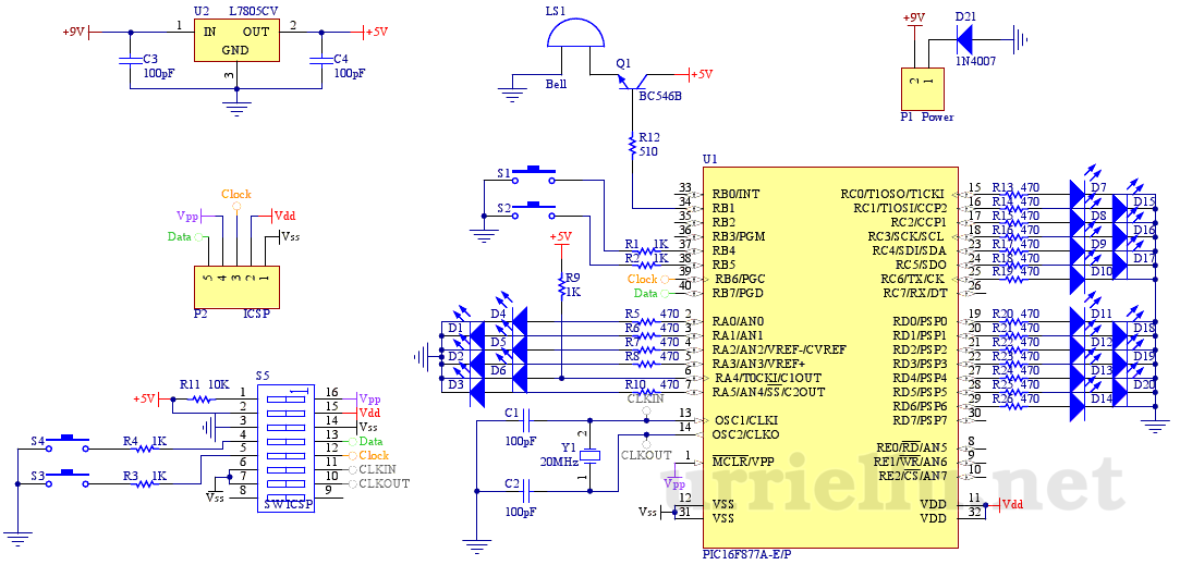 clk3 binary alarm clock - schematic