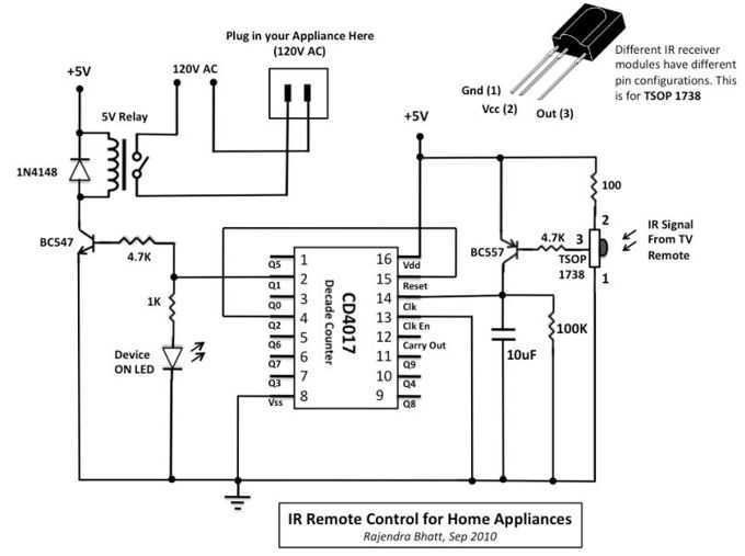 Infrared mains remote control Switch - schematic