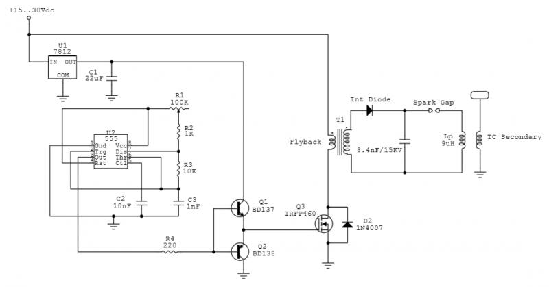 Spark-Gap Tesla Transformer - schematic