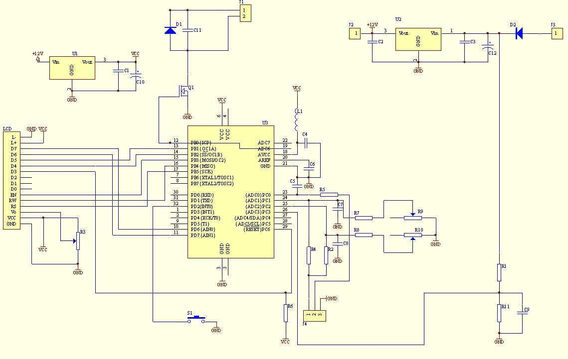 Voltage, Ampere Digital meter - schematic