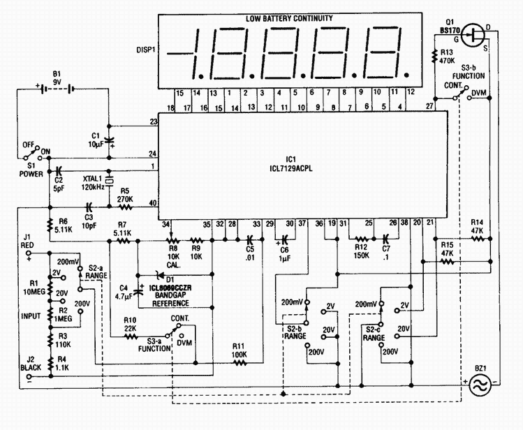 Digital Voltmeter with ICL7129ACPL A/D converter - schematic