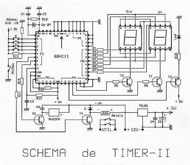 68HC11 as a Digital Timer - schematic