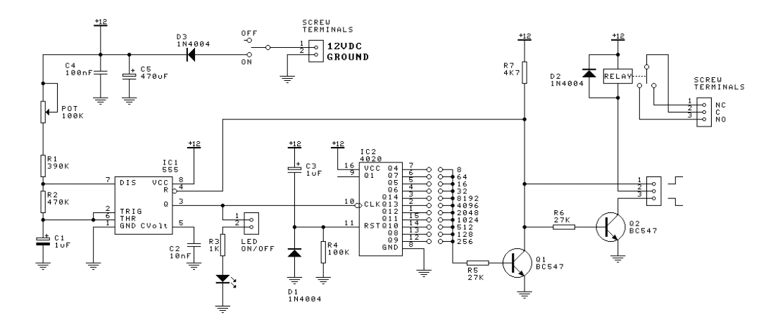 Count Down Timer Relay with 555 - schematic