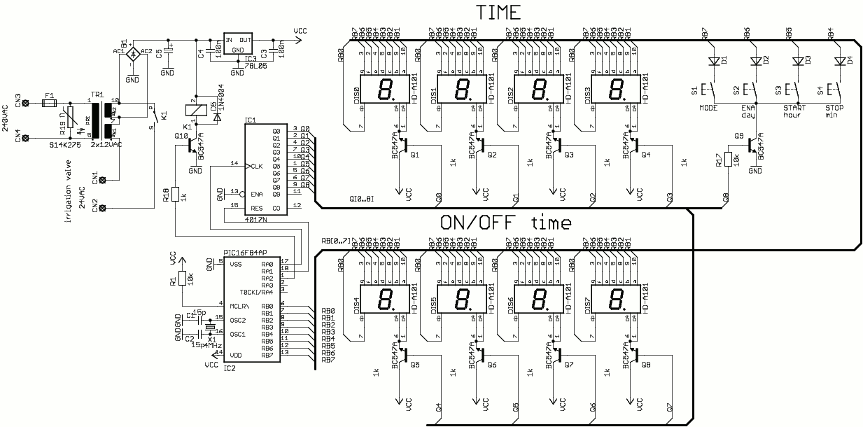 Greenhouse irrigation controller ( PIC16F84 ) - schematic