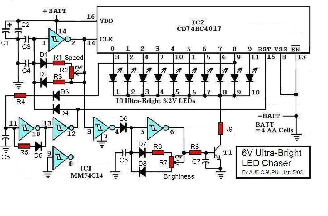 6V Ultra-Bright LED Chaser - schematic