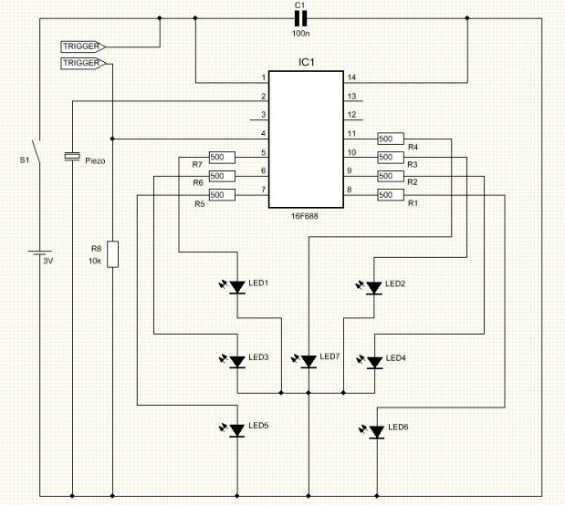 Shaking electronic LED Dice - schematic