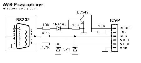 AVR Programmer with ATMega8-16 - schematic